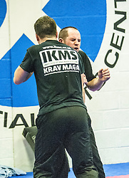 Reaction during one of the exercises. Stef Noij, KMG Instructor from the Institute Krav Maga Netherlands, the IKMS G Level Programme seminar today at the Scottish Martial Arts Centre, Alloa.