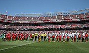 Teams line up during the AON Tour 2017 match between Real Madrid and Manchester United at the Levi's Stadium, Santa Clara, USA on 23 July 2017.