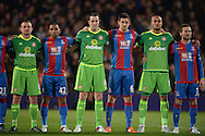 before the game both sets of players stand for the national anthem of France in a mark of respect for the Paris attacks. Barclays Premier league match, Crystal Palace v Sunderland at Selhurst Park in London on Monday 23rd November 2015.<br /> pic by John Patrick Fletcher, Andrew Orchard sports photography.