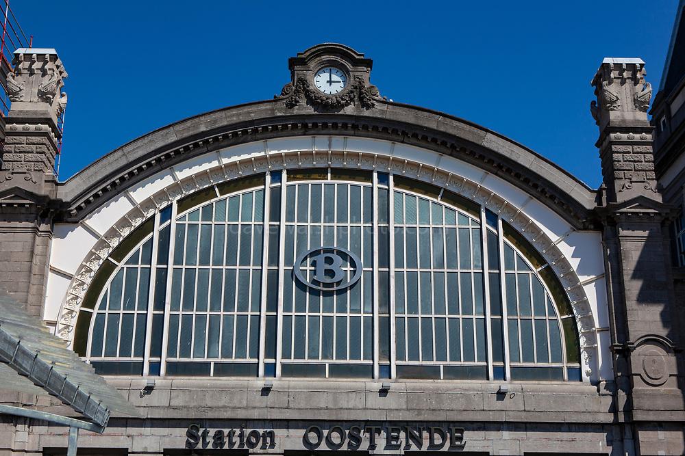 Railway station in Ostend, coastal city in Belgium