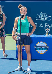 August 5, 2018 - San Jose, CA, U.S. - SAN JOSE, CA - AUGUST 05: Maria Sakkari (GRE) speaks briefly following the WTA Singles Championship at the Mubadala Silicon Valley Classic  at the San Jose State University Stadium Court in San Jose, CA  on Sunday, August 5, 2018. (Photo by Douglas Stringer/Icon Sportswire) (Credit Image: © Douglas Stringer/Icon SMI via ZUMA Press)