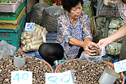 Fresh local produce for sale at Meuang Mai morning market on 8th June 2016 in Chiang Mai, Thailand.