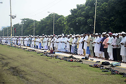 September 2, 2017 - Kolkata, West Bengal, India - Muslim men pray during the special namaz at Red Road on the occasion of Eid al-Adha in Kolkata. Muslim devotees offer namaz on the occasion of Eid al-Adha at Red Road on September 02, 2017 in Kolkata. Muslim around the world celebrate Eid al-Adha with special prayer and marked by sacrifice of animals (goat, sheep, camel and buffalo), the scarifies is also known as qurbani. (Credit Image: © Saikat Paul/Pacific Press via ZUMA Wire)