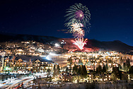 Fireworks over Snowmass during the annual Mardi Gras celebration in Snowmass, Colorado.