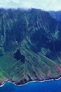 Aerial image of Manono Ridge on Kauai's spectacular Napali coast, Hawaii, USA.