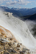 White Travertine Terraces at Mammoth Hot Springs in Yellowstone National Park, Wyoming, USA