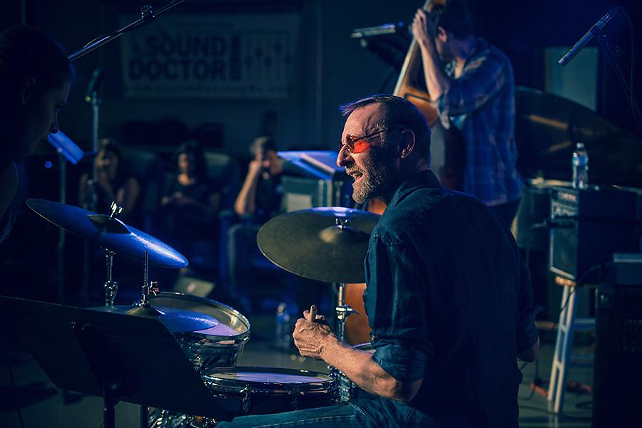 Percussionist Alan Jones performing at the 2018 Montavilla Jazz Festival