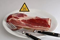 13.01.2011, Mit dem Gift Dioxin verseuchtes Fleisch liegt auf dem Teller (Symbolbild), Das niedersächsische Agrarministerium schließt nicht mehr aus, dass mit Dioxin belastetes Schweinefleisch in den Handel gekommen ist. .EXPA Pictures © 2011, PhotoCredit: EXPA/ nph/  Albers       ****** out of GER / SWE / CRO ******