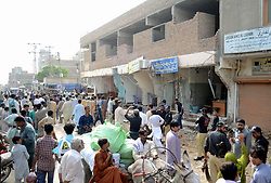 August 9, 2017 - Hyderabad, Sindh, Pakistan - peoples gathered the demolished shops by the local government Baldia Encroachment cell in which 2 shop keepers were dead and 4 are injured having treatment in civil hospital (Credit Image: © Janali Laghari/Pacific Press via ZUMA Wire)