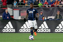 April 28, 2018 - Foxborough, MA, U.S. - FOXBOROUGH, MA - APRIL 06: New England Revolution forward Cristian Penilla (70) looks to the center of the park during a match between the New England Revolution and the Montreal Impact on April 6, 2018, at Gillette Stadium in Foxborough, Massachusetts. The Revolution defeated the Impact 4-0. (Photo by Fred Kfoury III/Icon Sportswire) (Credit Image: © Fred Kfoury Iii/Icon SMI via ZUMA Press)
