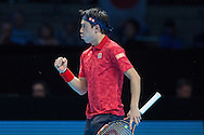 Kei Nishikori of Japan wins the first set (7-6) against Andy Murray of Great Britain during day four of the Barclays ATP World Tour Finals at the O2 Arena, London, United Kingdom on 16 November 2016. Photo by Martin Cole.