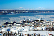 Frozen sea ice in Cook Inlet and the  Port of Anchorage