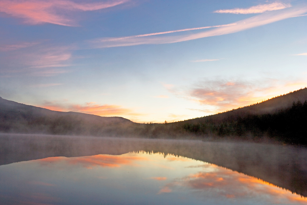 Misty Dawn and Clouds Reflecting in Trillium Lake, Oregon