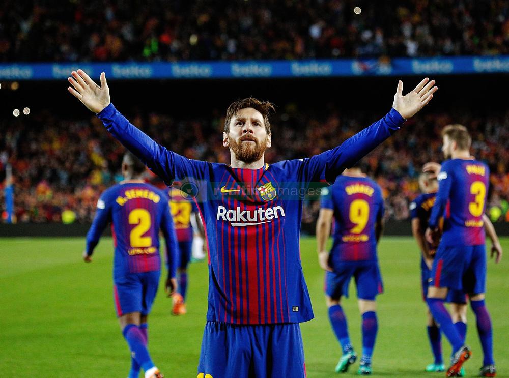 Marzo 6, 2018 - Barcelona, Barcelona, Spain...(10) Messi (delantero) celebra su gol...Partido de La Liga entre el FC Barcelona y el Real Madrid CF disputado en el Camp Nou.  El clásico ha finalizado con empate a 2. (Credit Image: © Joan Gosa/Xinhua via ZUMA Wire)