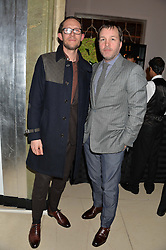 Left to right, WILL ADAMS and CLIVE DARBY of Rake Clothing at a reception hosted by Wei Koh founder of The Rake Magazine and Thomas Kochs General Manager of Claridge's to celebrate London Collections: Man 2014 at Claridge's, Brook Street, London on 5th January 2014.