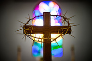 A cross with a crown of thorns at Iglesia Luterana Cristo El Salvador, Del Rio, Texas, on Sunday, April 18, 2021. LCMS Communications/Erik M. Lunsford