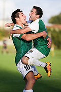 Manukau City's Andre Estay and Manukau City's Erber Chavarria celebrate their teams equalising goal in extra time ISPS Handa Chatham Cup Round 2, Waitakere City FC v Manukau City AFC, Fred Taylor Park, Whenuapai, Auckland, Monday 5th June 2017. Copyright Photo: David Joseph  / www.photosport.nz