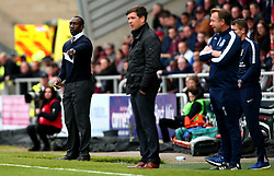 Northampton Town manager Jimmy Floyd Hasselbaink and Bristol Rovers manager Darrell Clarke - Mandatory by-line: Robbie Stephenson/JMP - 07/10/2017 - FOOTBALL - Sixfields Stadium - Northampton, England - Northampton Town v Bristol Rovers - Sky Bet League One