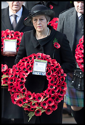 November 11, 2018 - London, London, United Kingdom - Image licensed to i-Images Picture Agency. 11/11/2018. London, United Kingdom.Prime Minister Theresa May  at the Remembrance Sunday service at The Cenotaph in London on  the Centenary of the end of the First World War. (Credit Image: © Stephen Lock/i-Images via ZUMA Press)
