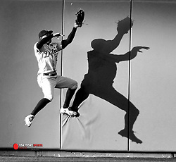 May 4, 2018; Kansas City, MO, USA; Detroit Tigers center fielder Leonys Martin (12) leaps to make the catch at the wall on a long fly ball in the first inning against the Kansas City Royals at Kauffman Stadium. Mandatory Credit: Denny Medley-USA TODAY Sports