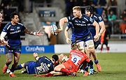 Sale Sharks No.8 Daniel Du Preez offloads the ball to wing Denny Solomona during a Gallagher Premiership Rugby Union match Sale Sharks -V- Leicester Tigers, Sale won the match 36-3 on Friday, Feb. 21, 2020, in Eccles, United Kingdom. (Steve Flynn/Image of Sport via AP)