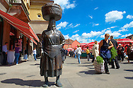 Statue of Market Women, Dolac Fruit & Vegetable Market [ Tr?nica Dolac ] , Zagreb, Croatia .<br /> <br /> Visit our CROATIA HISTORIC SITES PHOTO COLLECTIONS for more photos to download or buy as wall art prints https://funkystock.photoshelter.com/gallery-collection/Pictures-Images-of-Croatia-Photos-of-Croatian-Historic-Landmark-Sites/C0000cY_V8uDo_ls