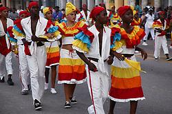 Men and women in costume at Carnival; Havana; Cuba,
