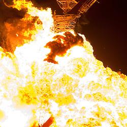 Aug. 30 2008 - Black Rock City, Nevada, USA - A fireball engulfs the Man during the burn, Saturday night, Aug. 30, 2008, during the Burning Man arts and culture festival in Black Rock City in the Black Rock Desert near Gerlach, Nev. (Credit Image: © David Calvert/ZUMA Press