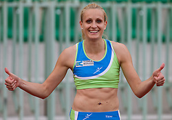 Winner Sabina Veit celebrates after women 100m finals at Slovenian National Championships in athletics 2010, on July 17, 2010 in Velenje, Slovenia. (Photo by Vid Ponikvar / Sportida)