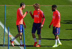 March 15, 2019 - Majadahonda, Madrid, Spain - Griezmann, Godin and Lemar of Atletico de Madrid during training day, March 15th, in Cerro del Espino, in Majadahonda, Madrid, Spain. (Credit Image: © AFP7 via ZUMA Wire)