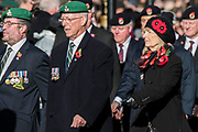 Veterans march past the Cenotaph and down Whitehall - Remembrance Sunday and Armistice Day commemorations fall on the same day, remembering the fallen of all conflicts but particularly the centenary of the end of World War One.