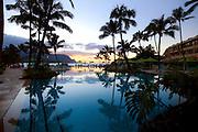 Sunset, St. Regis Princeville Resort, Hanlei Bay, Kauai, Hawaii