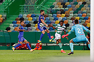 Jovane Cabral pass stopped in the hand of Tiago Esgaio during the Liga NOS match between Sporting Lisbon and Belenenses SAD at Estadio Jose Alvalade, Lisbon, Portugal on 21 April 2021.
