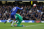 Pedro of Chelsea chips the ball over Goalkeeper Wilfredo Caballero of Manchester City but it goes wide.The Emirates FA Cup, 5th round match, Chelsea v Manchester city at Stamford Bridge in London on Sunday 21st Feb 2016.<br /> pic by John Patrick Fletcher, Andrew Orchard sports photography.