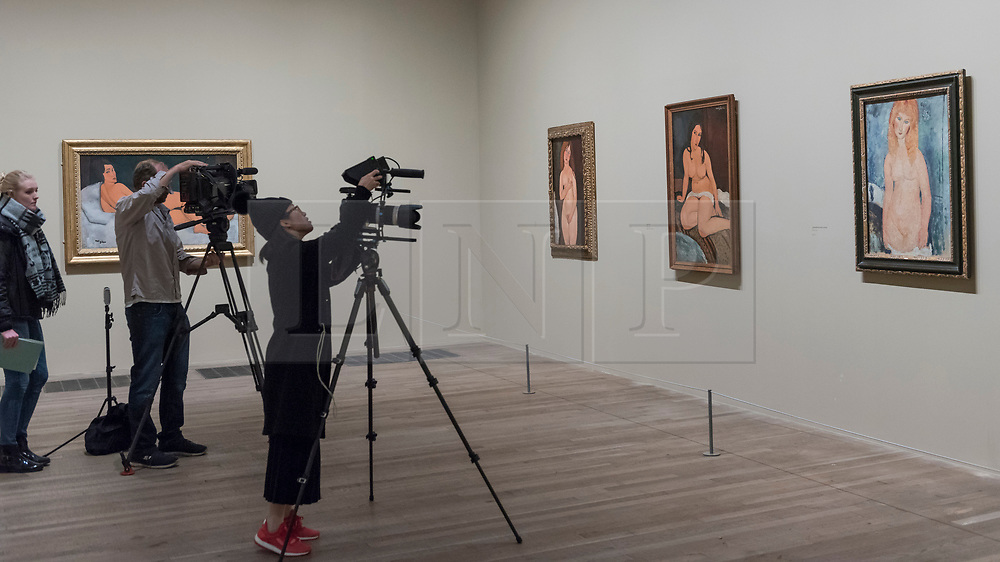 """© Licensed to London News Pictures. 21/11/2017. London, UK.  Members of the press film some of the 12 nudes on display.  Preview of """"Modigliani"""", the most comprehensive exhibition of works by Amedeo Modigliani ever held in the UK.  On display are iconic portraits, sculptures and 12 nudes, the largest group ever shown in the UK.  The show runs 23 November to 2 April 2018.  Photo credit: Stephen Chung/LNP"""