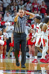 NORMAL, IL - February 16:  Gene Grimshaw calls an offensive foul during a college basketball game between the ISU Redbirds and the Bradley Braves on February 16 2019 at Redbird Arena in Normal, IL. (Photo by Alan Look)