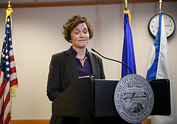 July 21, 2017 - Minneapolis, MN, USA - Minneapolis Mayor Betsy Hodges closes her eyes as she is shouted down by protesters shortly before she left the room during a news conference on Friday, July 21, 2017, at City Hall in Minneapolis. The news conference followed the resignation of Minneapolis Police Chief Janee Harteau at the request of the mayor. (Credit Image: © Aaron Lavinsky/TNS via ZUMA Wire)