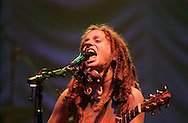 Alternative musician Ani DiFranco performs Tuesday at the Morris Performing Arts Center. DiFranco and her band gave a fiery performance to kick off the start of her current tour.