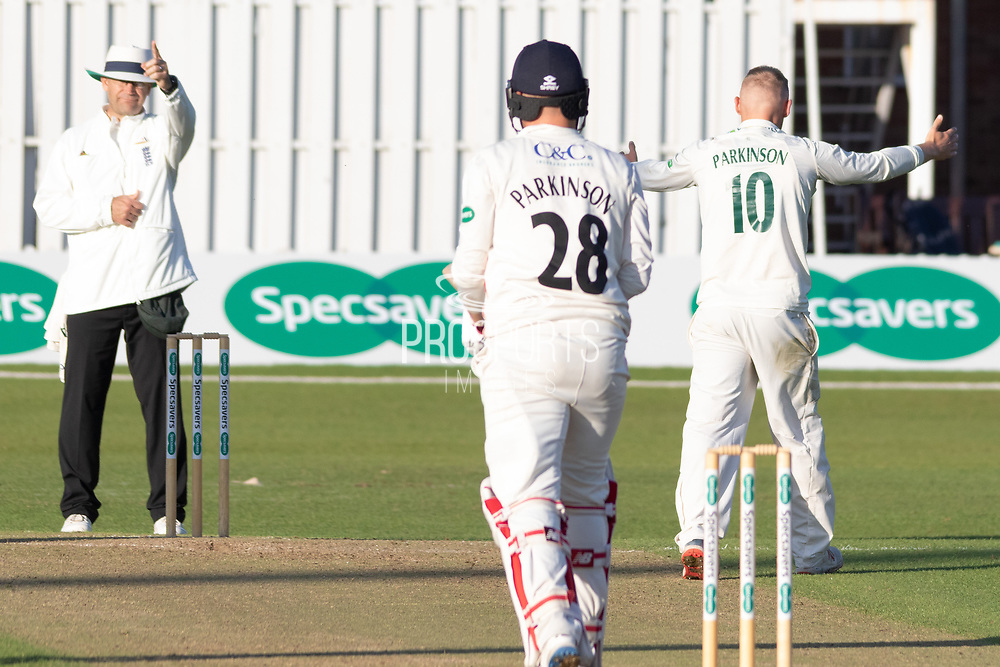 WICKET - Callum Parkinson traps brother Matt Parkinson LBW during the Specsavers County Champ Div 2 match between Leicestershire County Cricket Club and Lancashire County Cricket Club at the Fischer County Ground, Grace Road, Leicester, United Kingdom on 25 September 2019.
