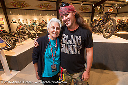 Gloria Struck and Brad Gregory on the Industry party night for Michael Lichter's tattoo themed Skin & Bones Motorcycles as Art exhibition at the Buffalo Chip during the annual Sturgis Black Hills Motorcycle Rally.  SD, USA.  August 7, 2016.  Photography ©2016 Michael Lichter.