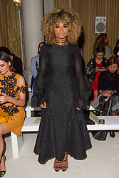 Fleur East on the front row during the Daks London Fashion Week SS18 show held at the Langham Hotel, London. Picture date: Friday September 16th, 2017. Photo credit should read: Matt Crossick/ EMPICS Entertainment.