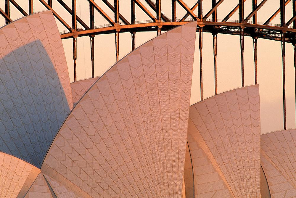 Australia, New South Wales, Sydney, Sydney Opera House (built 1973) and Harbor Bridge (built 1932).