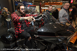 The Victory Booth during EICMA, the largest international motorcycle exhibition in the world. Milan, Italy. November 20, 2015.  Photography ©2015 Michael Lichter.