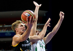 Steffen Hamann of Germany vs Simas Jasaitis of Lithuania during basketball game between National basketball teams of Lithuania and Germany at FIBA Europe Eurobasket Lithuania 2011, on September 11, 2011, in Siemens Arena,  Vilnius, Lithuania. Lithuania defeaed Germany 84-75. (Photo by Vid Ponikvar / Sportida)