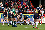 Hull Kingston Rovers half back Danny McGuire (7) is brought down during the Betfred Super League match between Hull Kingston Rovers and Leeds Rhinos at the Lightstream Stadium, Hull, United Kingdom on 29 April 2018. Picture by Mick Atkins.