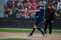 KELOWNA, CANADA - JUNE 28: NHL Dallas Stars Blake Comeau swings the bat during the opening charity game of the Home Base Slo-Pitch Tournament fundraiser for the Kelowna General Hospital Foundation JoeAnna's House on June 28, 2019 at Elk's Stadium in Kelowna, British Columbia, Canada.  (Photo by Marissa Baecker/Shoot the Breeze)