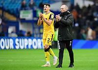 Lincoln City's Regan Poole, left, and Lincoln City manager Michael Appleton applaud the fans at the final whistle<br /> <br /> Photographer Chris Vaughan/CameraSport<br /> <br /> The EFL Sky Bet League One - Sheffield Wednesday v Lincoln City - Saturday 23rd October 2021 - Hillsborough Stadium - Sheffield<br /> <br /> World Copyright © 2021 CameraSport. All rights reserved. 43 Linden Ave. Countesthorpe. Leicester. England. LE8 5PG - Tel: +44 (0) 116 277 4147 - admin@camerasport.com - www.camerasport.com