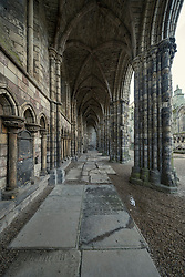 Ruined abbey at Palace of Holyrood in Edinburgh, Scotland, UK