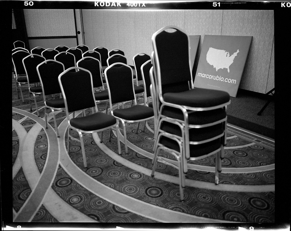 A campaign sign for U.S. Republican presidential candidate Marco Rubio is seen in a ballroom after an event in Coralville, Iowa. © Photo by Jim Young
