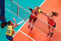 20180531 NED: Volleyball Nations League Netherlands - Brazil, Apeldoorn<br />Amanda Francisco (13) of Brazil, Laura Dijkema (14) of The Netherlands, Nicole Koolhaas (22) of The Netherlands <br />©2018-FotoHoogendoorn.nl